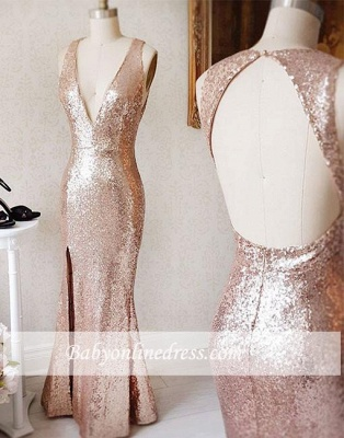 Split-Front Deep-v-neck Backless Beading Sequin Sheath Prom Dress_3