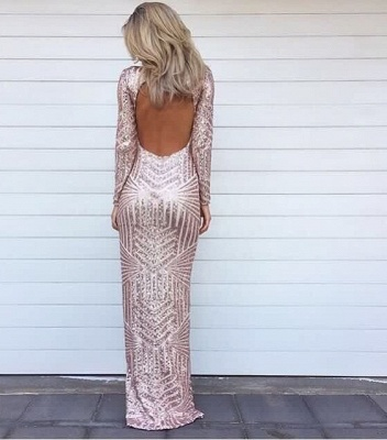 Alluring Glitter Long High Low Evening Dresses | Sequins Asymmetric Long Sleeve Prom Dress_3