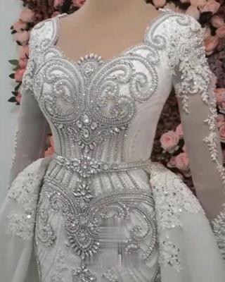 Mermaid Detachable Train Wedding Dresses | Luxury Crystal Bridal Gowns with Sleeves_4