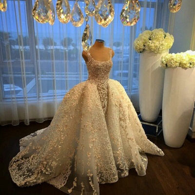 Gorgeous Ball Gown Wedding Dresses Lace Appliques Bridal Gowns with Overskirt_3
