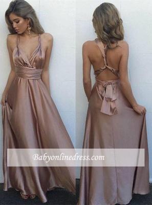 Gorgeous Long Sleeveless Prom Dress V-Neck Floor-Length Evening Gowns_3