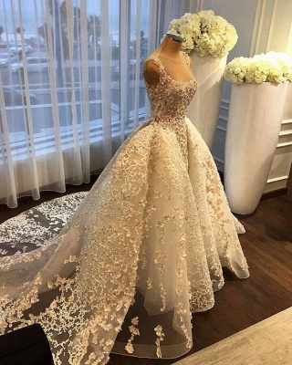 Gorgeous Ball Gown Wedding Dresses Lace Appliques Bridal Gowns with Overskirt_6