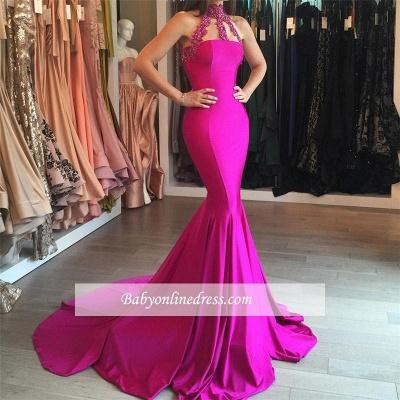 2018 Sweep-Train Sleeveless High-Neck Lace-appliques Mermaid Modest Prom Dress BA6354_1