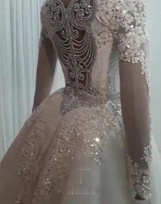 Mermaid Detachable Train Wedding Dresses | Luxury Crystal Bridal Gowns with Sleeves_2