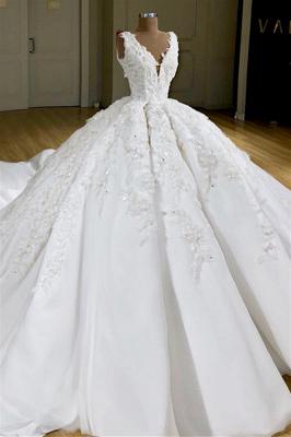 Princess Straps V Neck Applique Ruffles Ball Gown Wedding Dress_1