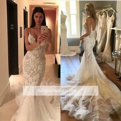 Vintage Spaghetti Strap Tulle Mermaid Lace Button Wedding Dresses_1