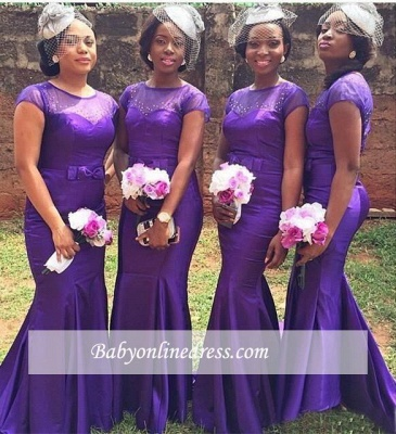 Popular Purple Short Sleeves Mermaid Beadings Bow Bridesmaid Dresses_1