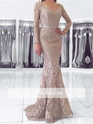 Evening Lace Dresses With Long Floor Length Fashion Sleeves Party Gowns_1