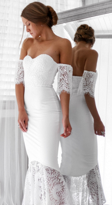 Elegant White Lace Bridesmaid Dress | Off the Shoulder Wedding Party Dress_4