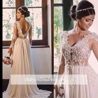 V-neck A-line Backless Chiffon Simple Sweep-Train Lace Wedding Dress_1