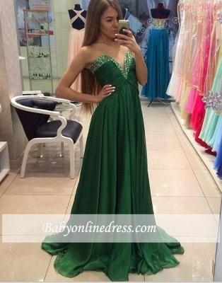 Elegant Sweetheart Beading Prom Dresses A-line Green Chiffon Evening Dresses_3