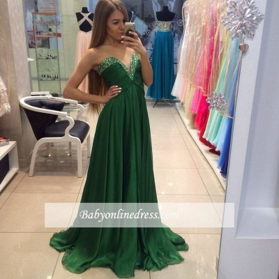Elegant Sweetheart Beading Prom Dresses A-line Green Chiffon Evening Dresses_1
