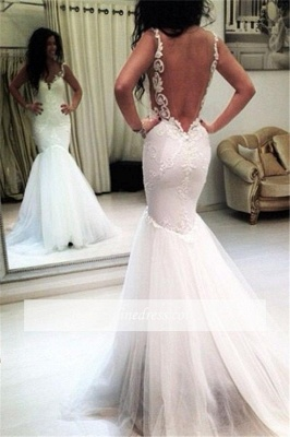 Tulle Appliques Mermaid Sexy Open-Back Sleeveless Wedding Dresses_1