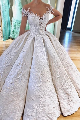 Ball Gown Princess Off the Shoulder Lace Appliques Wedding Dresses_1