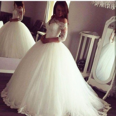 Vintage Ball Gown Wedding Dresses | Off-the-Shoulder Long Sleeves Bridal Gowns_3