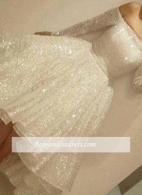 Short Bling Off-the-Shoulder Long-Sleeves Tiers-Skirt Bling Prom Dresses_3