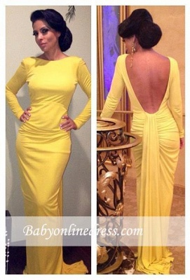 2018 Yellow Long Sleeves Sheath Open Back Ruched Evening Dress_3