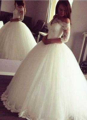 Vintage Ball Gown Wedding Dresses | Off-the-Shoulder Long Sleeves Bridal Gowns_1