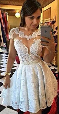 New Arrival Short Lace Appliques Homecoming Dress A-Line Cap Sleeves Cocktail Dresses_1