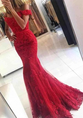 Glamorous Red Lace Mermaid Appliques Off-the-shoulder Evening Dress_1