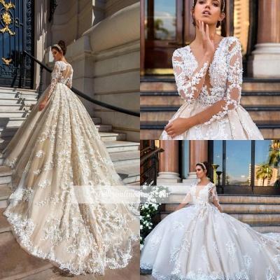 Glamorous Princess Court-Train Lace Long-Sleeve Wedding Dresses_1