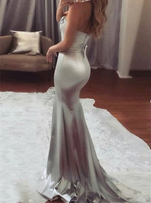 Shiny Mermaid Beading Prom Dresses Silver Sweetheart Neck Long Belt Ruffles Evening Dresses_3