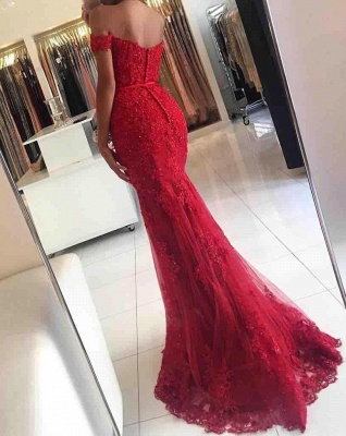 Glamorous Red Lace Mermaid Appliques Off-the-shoulder Evening Dress_6