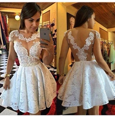 New Arrival Short Lace Appliques Homecoming Dress A-Line Cap Sleeves Cocktail Dresses_3
