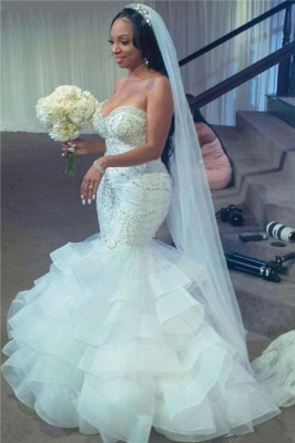 Strapless Sweetheart Mermaid Wedding Dresses with Tiered Train_1