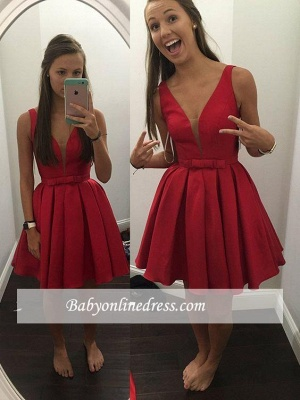 Simple Cheap V-neck Sleeveless Short Bowknot Straps Red Homecoming Dress_1