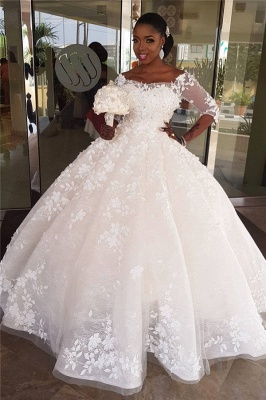 Round Neck Lace Ball Gown Vintage Wedding Dresses with Sleeves_1