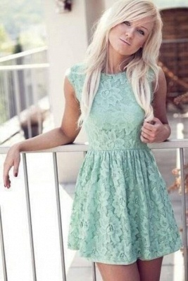 New Cheap Mint Lace Miniskirt Sleeveless Bateau Pretty Homecoming Dress_2