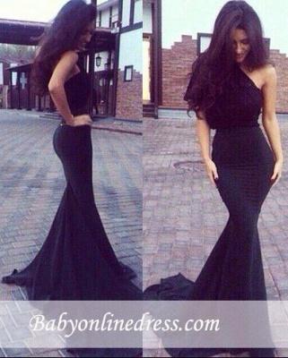 New Elegant One-Shoulder Black Mermaid Prom Dresses_1