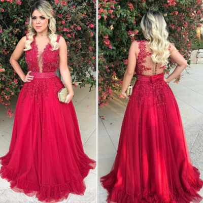 Gorgeous Red Tulle Prom Dresses V-Neck A-line Evening Dresses_4