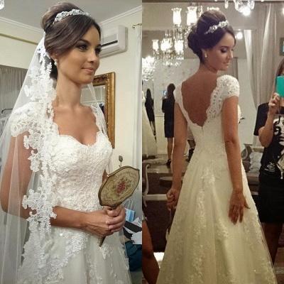 Straps Modern Zipper Short-sleeves A-line Lace Wedding Dresses_3