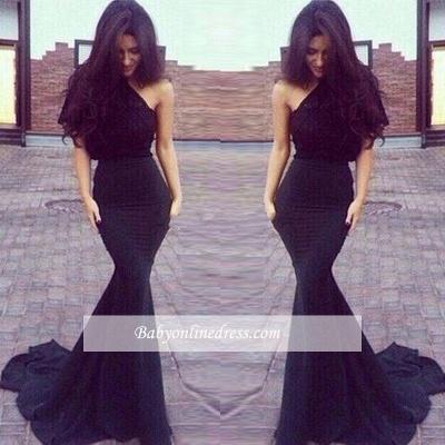 New Elegant One-Shoulder Black Mermaid Prom Dresses_3