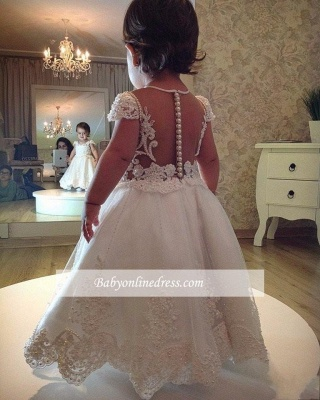 Lace A-line Short-Sleeves Flower Pearls Girl Dress