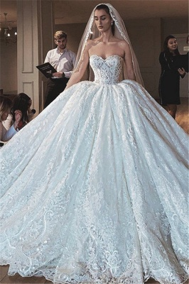 Strapless Princess Lace Wedding Dresses | Sweetheart Ball Gown Bridal Gowns_1