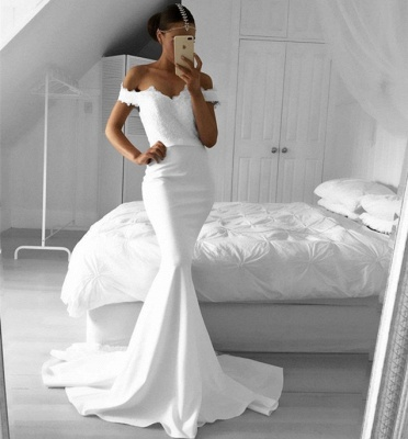 2018 Lace Off-the-Shoulder Elegant Mermaid Prom Dresses_3
