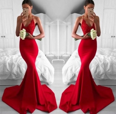 Sexy Red Mermaid Evening Gowns | Spaghettis Straps V-Neck Prom Dresses_3