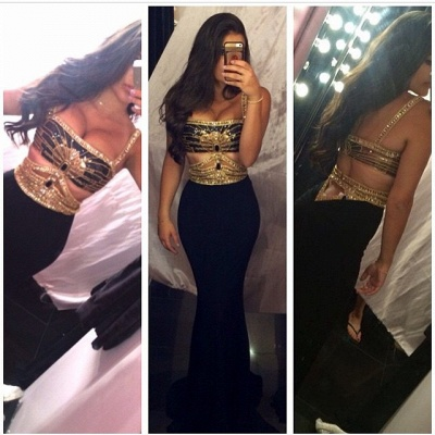 Sexy Mermaid Prom Dresses Straps Beaded Cut Out Gold Black Party Gowns_3