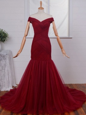 Red Off-the-Shoulder Tulle Homecoming Dresses Mermaid Ruffes Evening Gowns_1