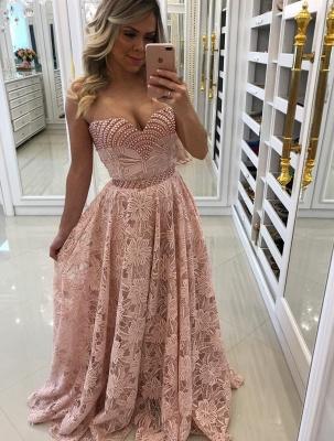 Sheath Sweetheart Pink Long Elegant Lace Prom Dresses_5