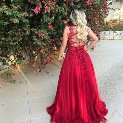 Gorgeous Red Tulle Prom Dresses V-Neck A-line Evening Dresses_3