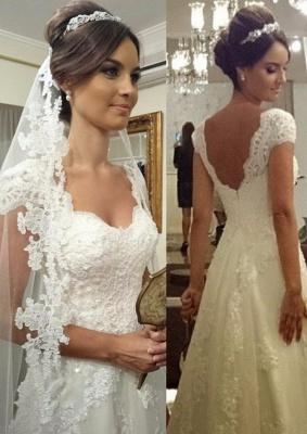 Straps Modern Zipper Short-sleeves A-line Lace Wedding Dresses_2