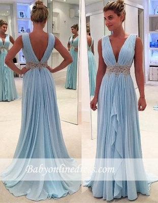 2018 Glamorous V-Neck Blue Appliques Ruffles A-Line Sleeveless Prom Dresses_3