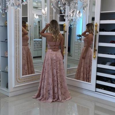 Sheath Sweetheart Pink Long Elegant Lace Prom Dresses_4