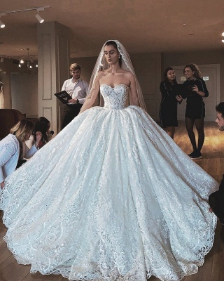 Strapless Princess Lace Wedding Dresses | Sweetheart Ball Gown Bridal Gowns_3