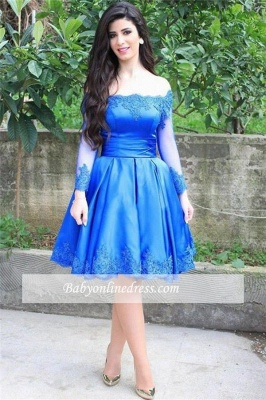 Blue Elegant Lace Appliques Knee Length Long Sleeve Off-the-shoulder Homecoming Dress_1