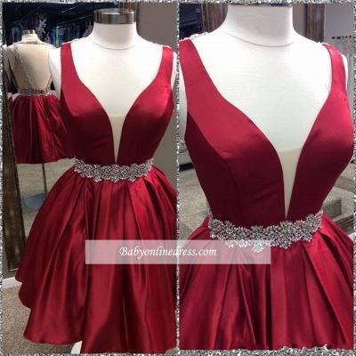Short Burgundy Deep V-Neck Sheer-Back Backless Homecoming Dresses_1